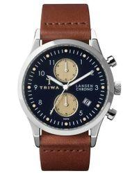 Triwa - Lansen Chronograph Leather Strap Watch - Lyst