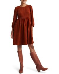 Madewell Corduroy Puff Sleeve Minidress - Brown