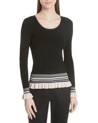 MILLY - Stripe Rib Knit Pullover - Lyst