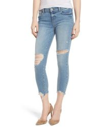 PAIGE - Verdugo Ripped Crop Ultra Skinny Jeans - Lyst