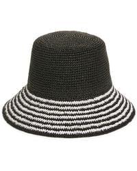 Nordstrom Stripe Brim Straw Bucket Hat - Black