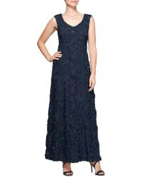 Alex Evenings - Beaded Rosette Lace Gown - Lyst