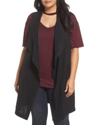 REBEL WILSON X ANGELS Drape Front Vest - Black