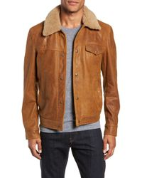 a47343c844d Schott Nyc - Vintage Buffalo Leather Trucker Jacket With Genuine Sheepskin  Collar - Lyst