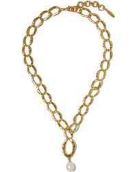Sole Society Freshwater Pearl Pendant Hammered Chain Necklace - Metallic