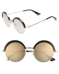 Web - 51mm Round Sunglasses - Shiny Black/ Smoke Mirror - Lyst