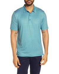 Cutter & Buck Pike Classic Fit Houndstooth Print Performance Polo - Blue