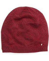 Ted Baker Stardust Embellished Knit Beanie - Burgundy