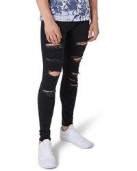 TOPMAN - Skinny Spray On Ripped Jeans - Lyst