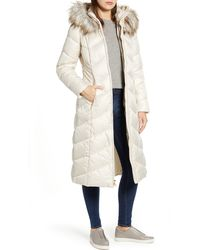 Gallery - Long Quilted Parka With Faux Fur Trim - Lyst