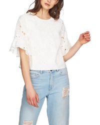1.STATE - Embroidered Ruffle Eyelet Top - Lyst