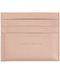 Longchamp 'le Foulonne' Pebbled Leather Card Holder - Blue