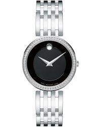Movado 'esperanza' Diamond Bezel Bracelet Watch - Black