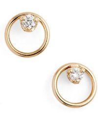 Zoe Chicco | Diamond Circle Stud Earrings | Lyst