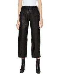 Anine Bing Leah Crop Leather Pants - Black