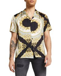 River Island - Gold Scarf Print Button-up Camp Shirt - Lyst