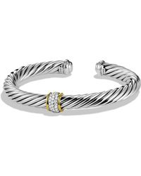 David Yurman Cable Classics Bracelet With Diamonds & 18k Gold - Metallic