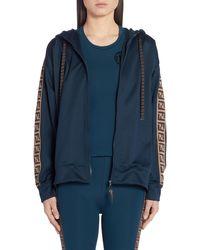 Fendi Ff Logo Hooded Jersey Jacket - Blue