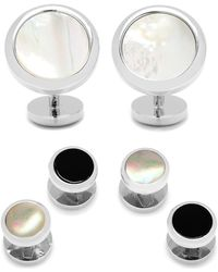 Ox and Bull Trading Co. Mother-of-pearl Cuff Links & Shirt Stud Set - White