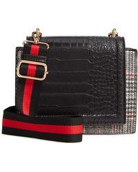 Sondra Roberts Croc Embossed Faux Leather Crossbody Bag - Black