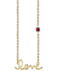 Shy By Sydney Evan - Love Necklace With Ruby - Lyst