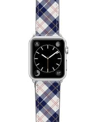 Casetify Call Me Navy Saffiano Faux Leather Apple Watch Strap - Blue