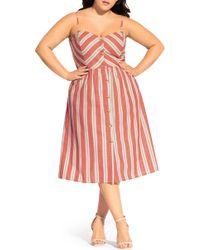 City Chic - Take Me Away Stripe Sundress - Lyst