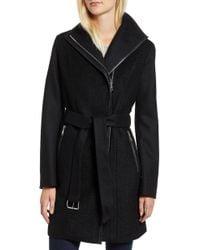 Tahari - Elaine Boiled Wool Blend Coat - Lyst