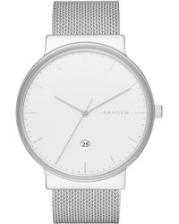 Skagen - 'ancher' Round Mesh Strap Watch - Lyst