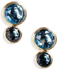 Marco Bicego - Jaipur 2-stone Blue Topaz Stud Earrings - Lyst