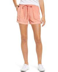 Caslon Caslon Drawstring Waist Chambray Shorts - Pink