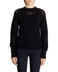 Moncler Openwork Cotton Sweater - Black
