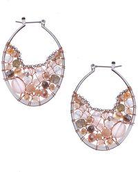 Nakamol Mix Stone & Freshwater Pearl Hoop Earrings - Pink
