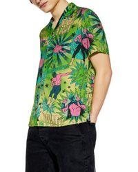 TOPMAN Wrestler Print Camp Shirt - Green