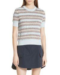 Carven - Textured Stripe Merino Wool & Cotton Sweater - Lyst