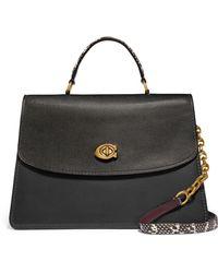 COACH - Parker 32 Genuine Snakeskin & Leather Top Handle Bag - Lyst