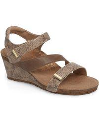 Aetrex Brynn Asymmetrical Wedge Sandal - Brown