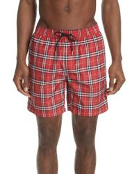 Burberry - Guides New Check Swim Trunks - Lyst