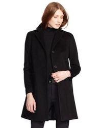 Lauren by Ralph Lauren | Wool Blend Reefer Coat | Lyst