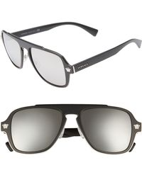 adb0ddb85a Versace - 56mm Mirrored Aviator Sunglasses - Lyst