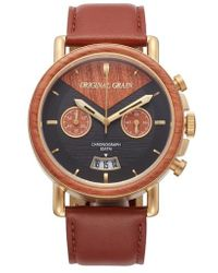 ORIGINAL GRAIN | Alterra Chronograph Leather Strap Watch | Lyst