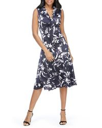 Maggy London Womens Petite Printed Crepe V-Neck Midi Dress with Long Sleeve