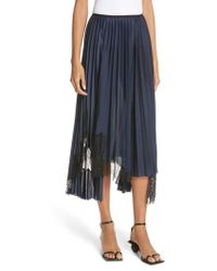 Helmut Lang - Pleated Lace Inset Skirt - Lyst