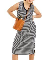 J.Crew | J.crew Sleeveless Henley Stripe Midi Dress | Lyst