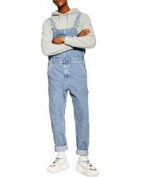 TOPMAN Straight Leg Denim Overalls - Blue