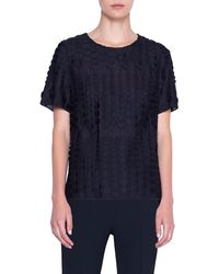 Akris Punto Embroidered Dot Cotton Blend Top - Black