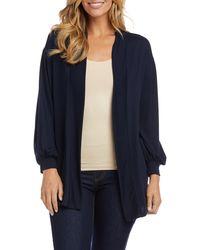Karen Kane Blouson Sleeve Jersey Cardigan - Blue