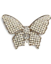 Nina - Faux Pearl & Crystal Butterfly Brooch - Lyst