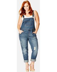 City Chic - 'over It All' Distressed Denim Overalls - Lyst