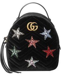 7bc9f7470bdf Gucci - Marmont 2.0 Crystal Stars Velvet Backpack - - Lyst